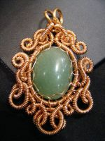 Aventurine Coiled in copper by BacktoEarthCreations