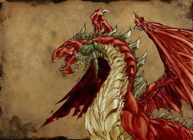 Red Dragon in old paper by marcosjsantos