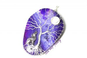 Howling Wolf Full Moon Tree of Life on Agate by LoneWolfjewelry