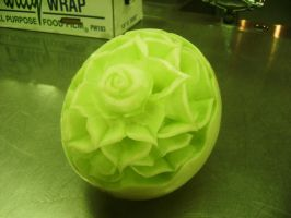 My first honeydew carving. by PsychoInABox