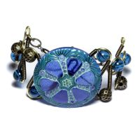 Steampunk Neo Victorian Bracelet Sapphire Glass by CatherinetteRings