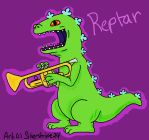 Reptar (from Rugrats) with a Trumpet by Silverstripe24