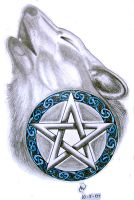 Howling wolf pentacle by IrishArtiste