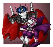 Optimus Prime and Elita One by Redhead-K