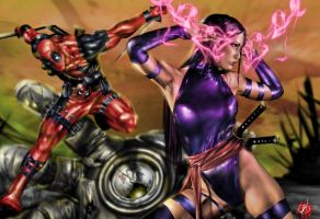 Deadpool and Psylocke by BornTewSlow