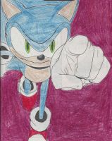 Sonic colored-in and outlined page by dth1971