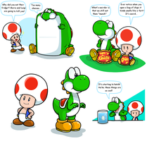 Hey, it's Yoshi and Toad by Nintendrawer