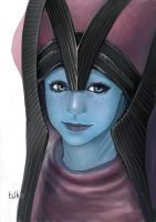 Baby Liara in Benezia's Headdress by tilhe
