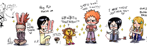 Bleach row of chibies by emlan