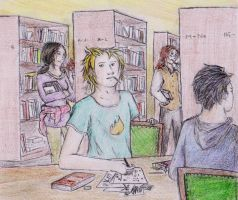 Noldor Uni: Encounter in the library by Gwenniel