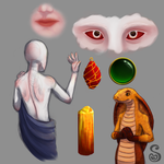Painting Practice: Gems, Snakes, and Skin by Shrineheart