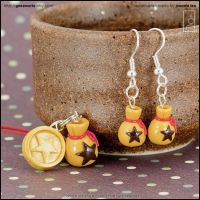 Animal Crossing Bell Bag Charm + Earrings by junosama