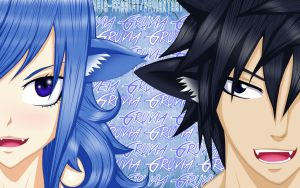 Gray and Juvia-Nyan by Xela-scarlet