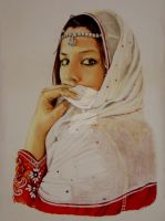 Woman in Omani dress by the-drawgrapher