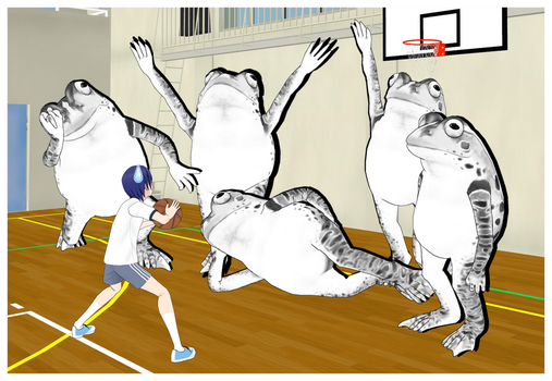 I think he is in a wrong basketball match by Afnan-kun