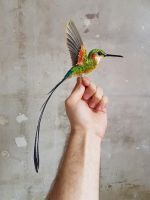 Large paper hummingbird sculpture by ZackMclaughlin