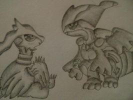 Special Request: Zekrom and Reshiram Chibi by AnimeChibiest