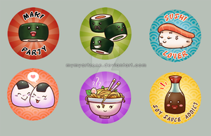 Buttons Set : Japanese Food by MymyArtzone