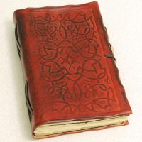 Red Ornament leather journal by gildbookbinders