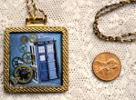 Doctor Who Square Brass Steampunk Tardis Pendant by elllenjean