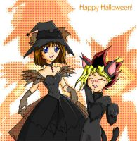 Anzu and her Halloween Cat by justaminuet