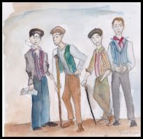 Newsies:Race,Crutchy,Spot,Jack by Rebeckles