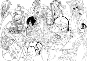 tea party lineart by fraulein-rose