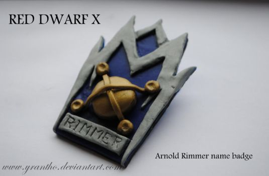 Red Dwarf X Arnold Rimmer Name Badge Pin Brooch by yrantho