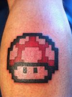 Super Mario Bros. PowerUp Mushroom Tattoo by Danny-theOne