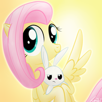 Fluttershy and Angel by Leibi97
