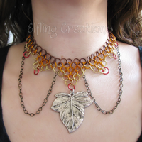 Autumn Leaf Chainmaille Necklace by merigreenleaf