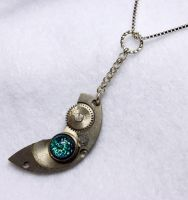 Steampunk DRAGON TEAR Necklace by Create-A-Pendant