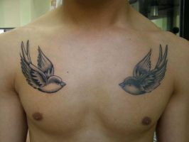Swallows neo traditional by WildThingsTattoo