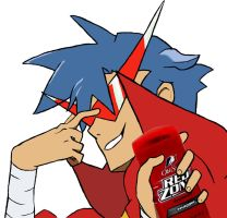 Kamina and his Old Spice by Coyote-Productions