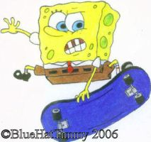 SpongeBob Skateboarding by BlueHatTimmy