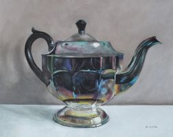 Tarnished Silver Teapot Still Life by birchley