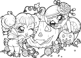 Halloween-Candies get ready! by Chibivi-Linearts