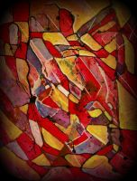 oldpaintingrevisited abstract red yellow by santosam81