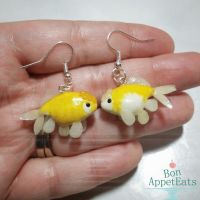 Commission - Personalized Goldfish Earrings by Bon-AppetEats