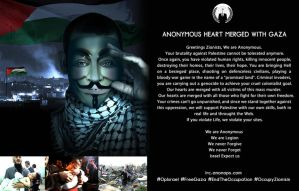 Anonymous Heart Merged with Gaza OpIsrael Anonarts by OpGraffiti