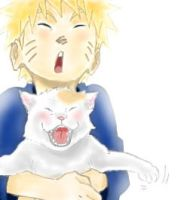 Naruto with a cat by Gemefantasy