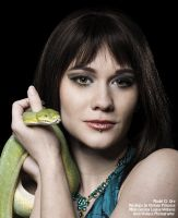 CJ and the Green tree python by AngiWallace