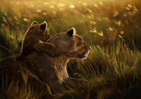 Digital painting : Lioness and cub by MaddieTSL