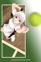tennis girl by queues