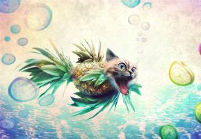 pineapple cat betta fish by 2d-artist