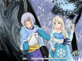 Kingdom Hearts: Elsa and Riku by DifferentWaysToCry