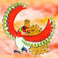 Heart Gold Ho-Oh by lowlaury