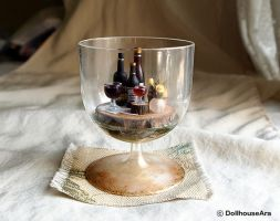 Vintage Wine glasses cup Drink tray decor set by dollhouseara