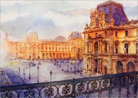 Louvre - Watercolor Study by AuroraWienhold