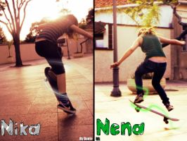 Nika and Nena-sk8 girls by Dante-DS